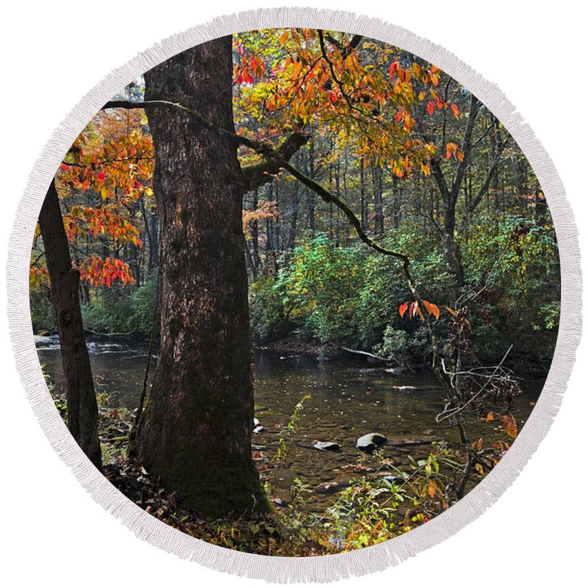 Appalachia Round Beach Towel featuring the photograph Autumn Mountains by Debra and Dave Vanderlaan
