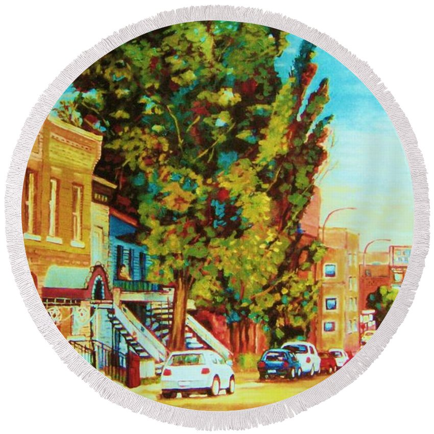 Bagg Street Synagogue Rue Bagg And Clark Round Beach Towel featuring the painting Autumn On Bagg Street by Carole Spandau