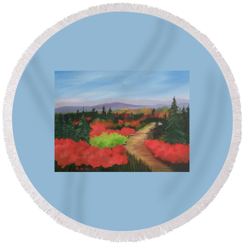 Landscape Round Beach Towel featuring the painting Autumn On Dolly Sods by Ruth Housley