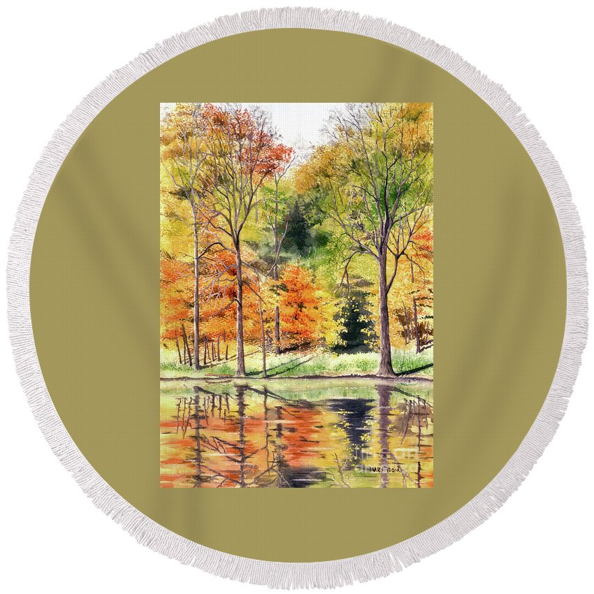 Autumn Round Beach Towel featuring the painting Autumn Oranges by Mary Tuomi