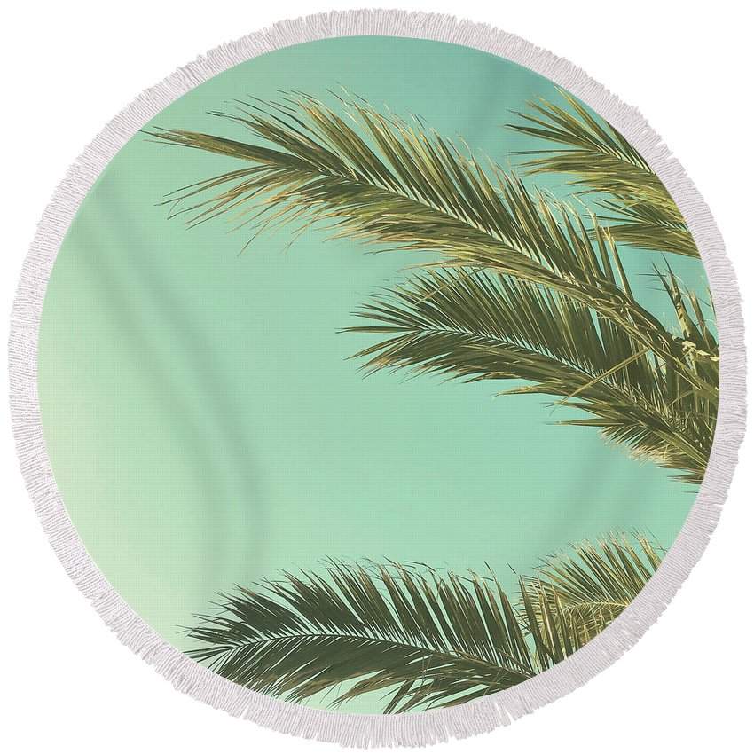 Palm Trees Round Beach Towel featuring the photograph Autumn Palms II by Cassia Beck