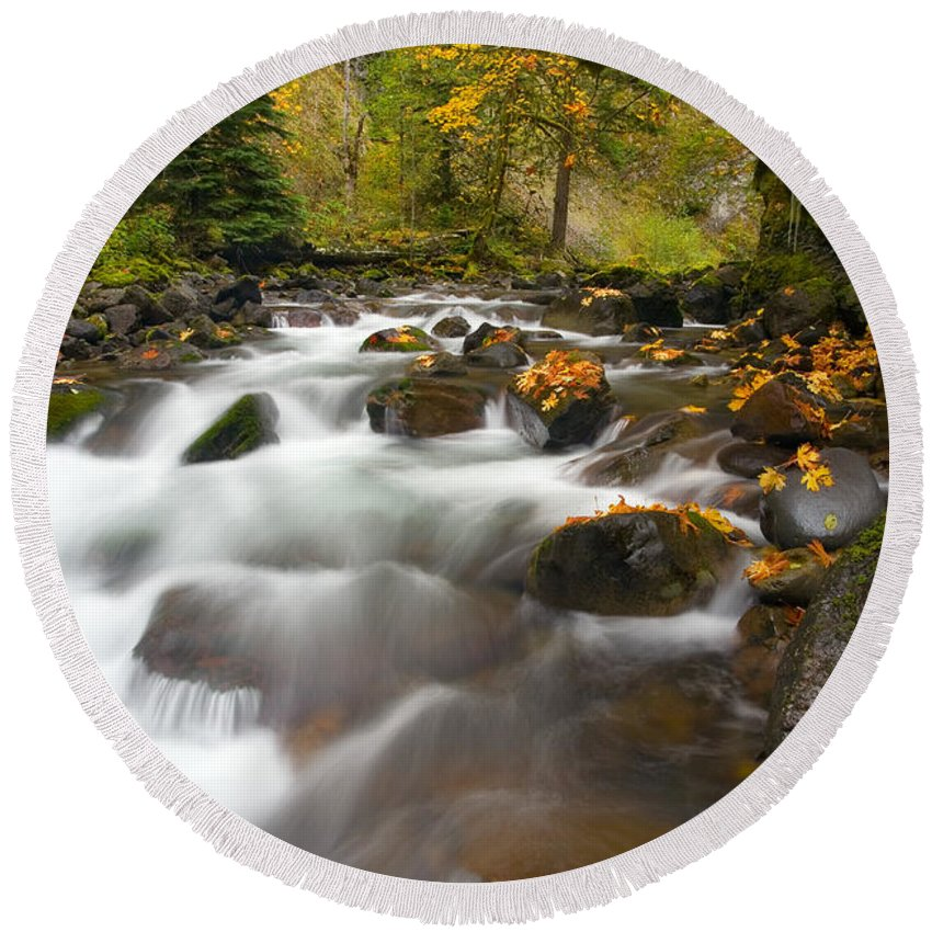 Stream Round Beach Towel featuring the photograph Autumn Passages by Mike Dawson