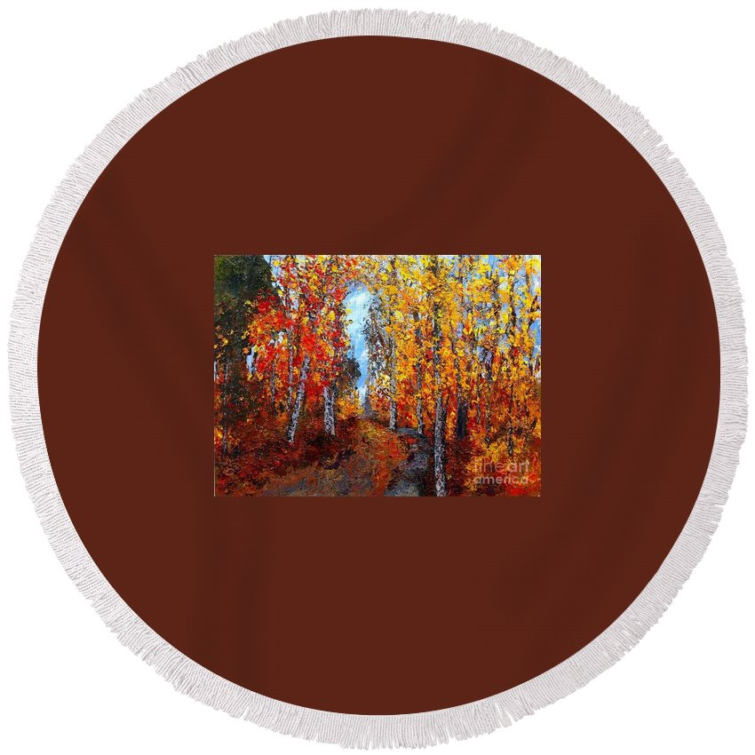 Round Beach Towel featuring the painting Autumn Path by Barrie Stark