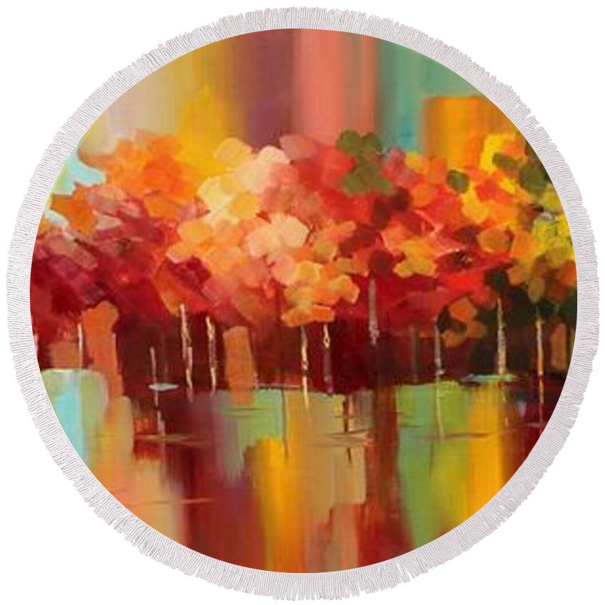 Autumn. Colorful Round Beach Towel featuring the painting Autumn by Paula Berteotti