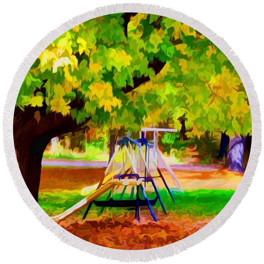 Fall Leaves Trees Round Beach Towel featuring the painting Autumn Playground 1 by Jeelan Clark