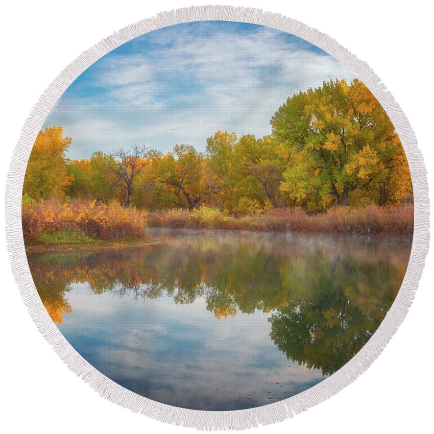Colorado Round Beach Towel featuring the photograph Autumn Pond by Darren White