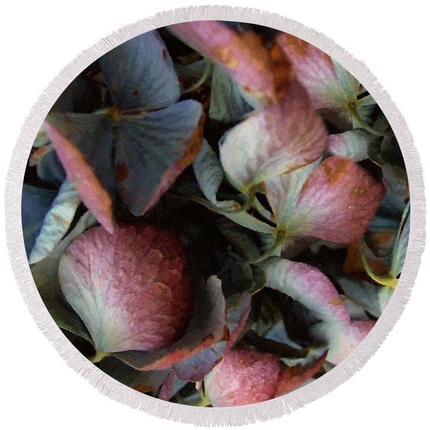 Hydrangea Round Beach Towel featuring the painting Autumn Potpourri by RC DeWinter