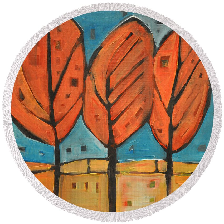 Trees Round Beach Towel featuring the painting Autumn Quilt by Tim Nyberg