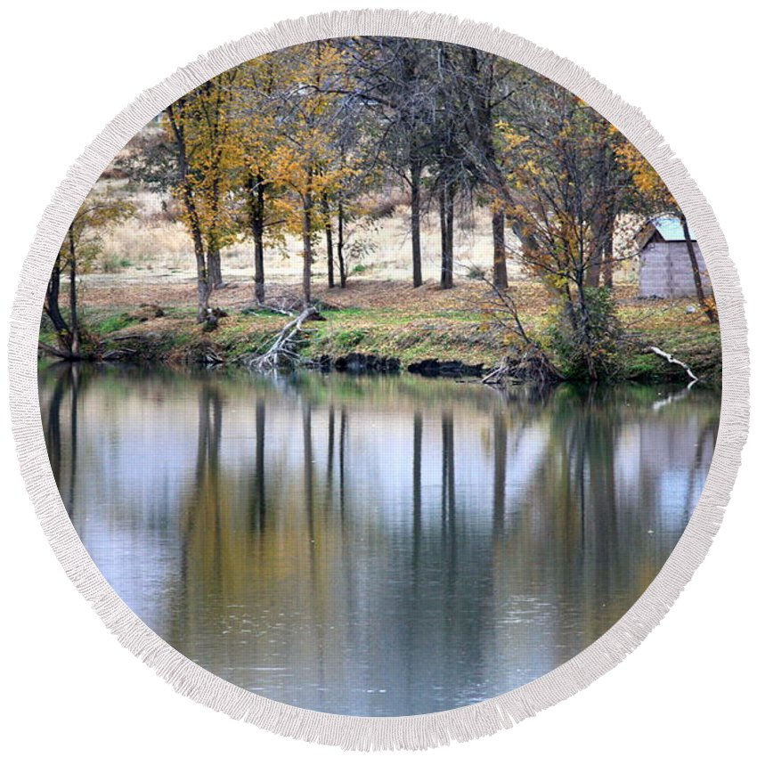 Fall Reflection Round Beach Towel featuring the photograph Autumn Reflection 16 by Carol Groenen