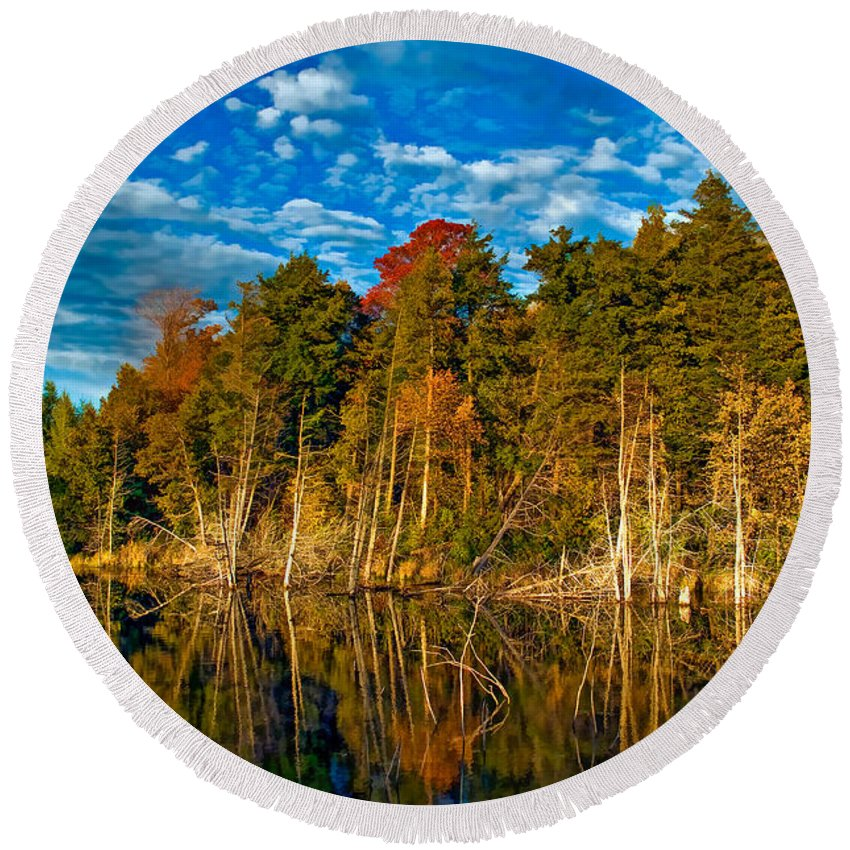 Landscape Round Beach Towel featuring the photograph Autumn Reflection II by Steve Harrington