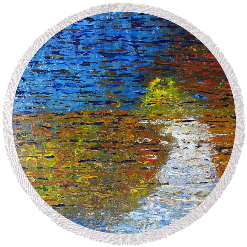 Autumn Reflection Round Beach Towel featuring the painting Autumn Reflection by Jacqueline Athmann