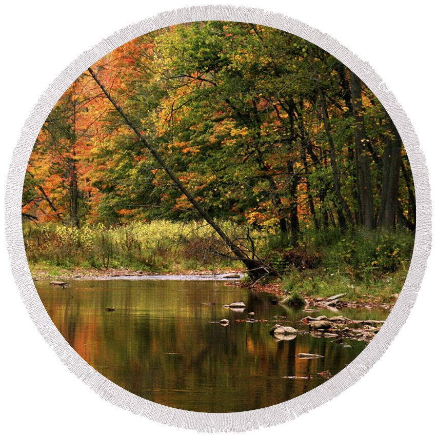 Tree Round Beach Towel featuring the photograph Autumn Reflections by Phill Doherty