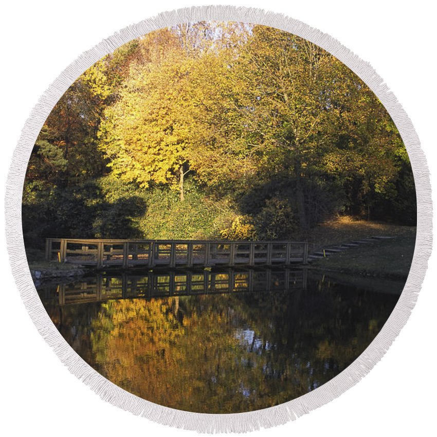 Autumn Scene Round Beach Towel featuring the photograph Autumn Reflections by Sally Weigand