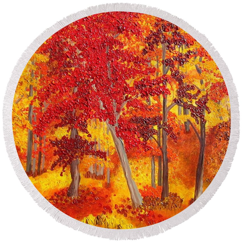 Landscape Round Beach Towel featuring the painting Autumn Richness by Wanda Pepin