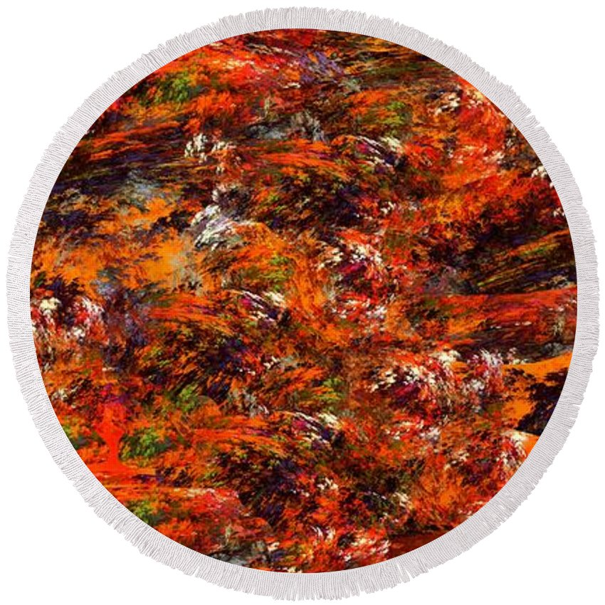 Abstract Digital Painting Round Beach Towel featuring the digital art Autumn Riot by David Lane