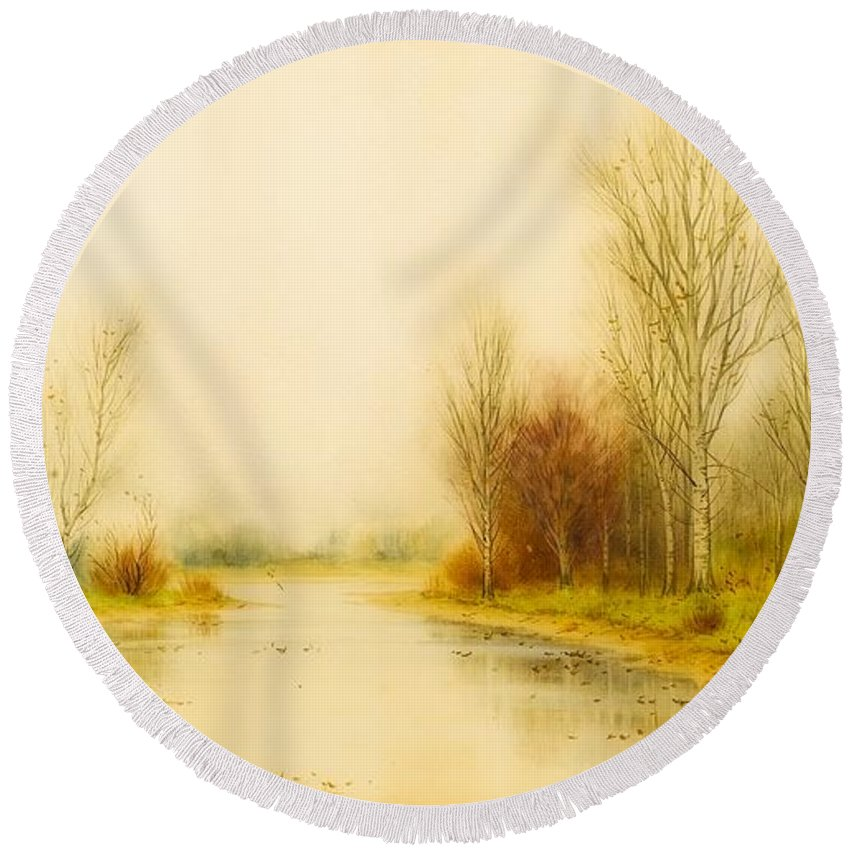 Painting Round Beach Towel featuring the painting Autumn River Landscape by George Gay