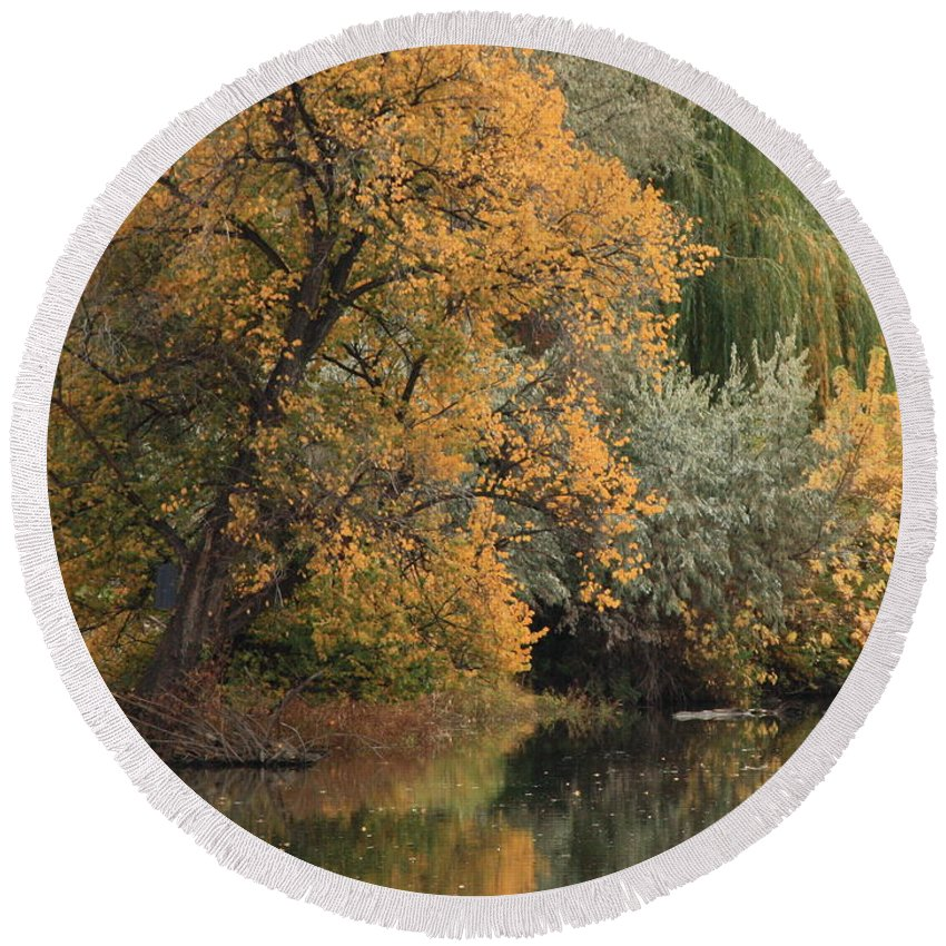 Landscape Round Beach Towel featuring the photograph Autumn Riverbank by Carol Groenen