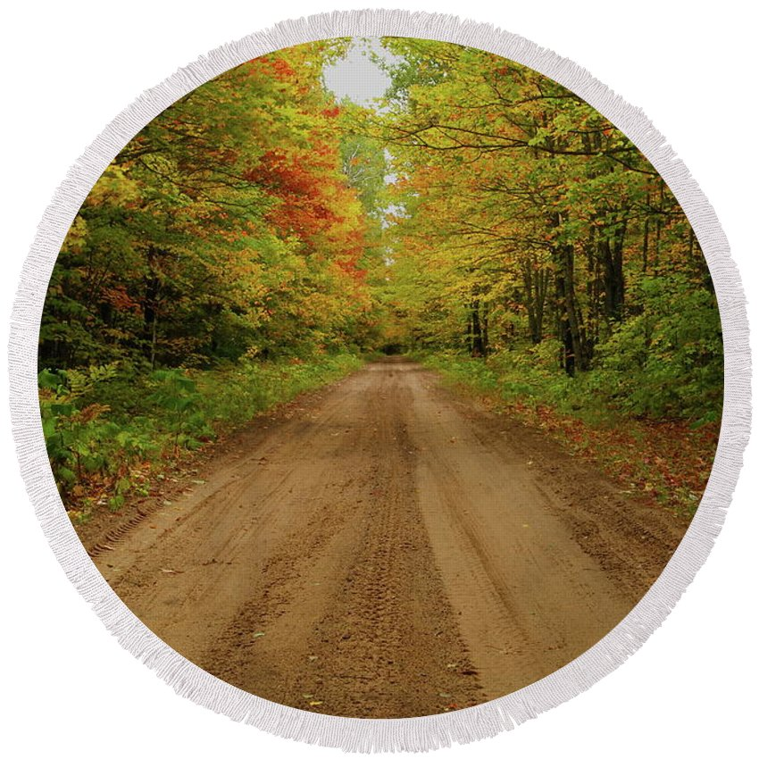 Autumn Round Beach Towel featuring the photograph Autumn Road by Michael Peychich