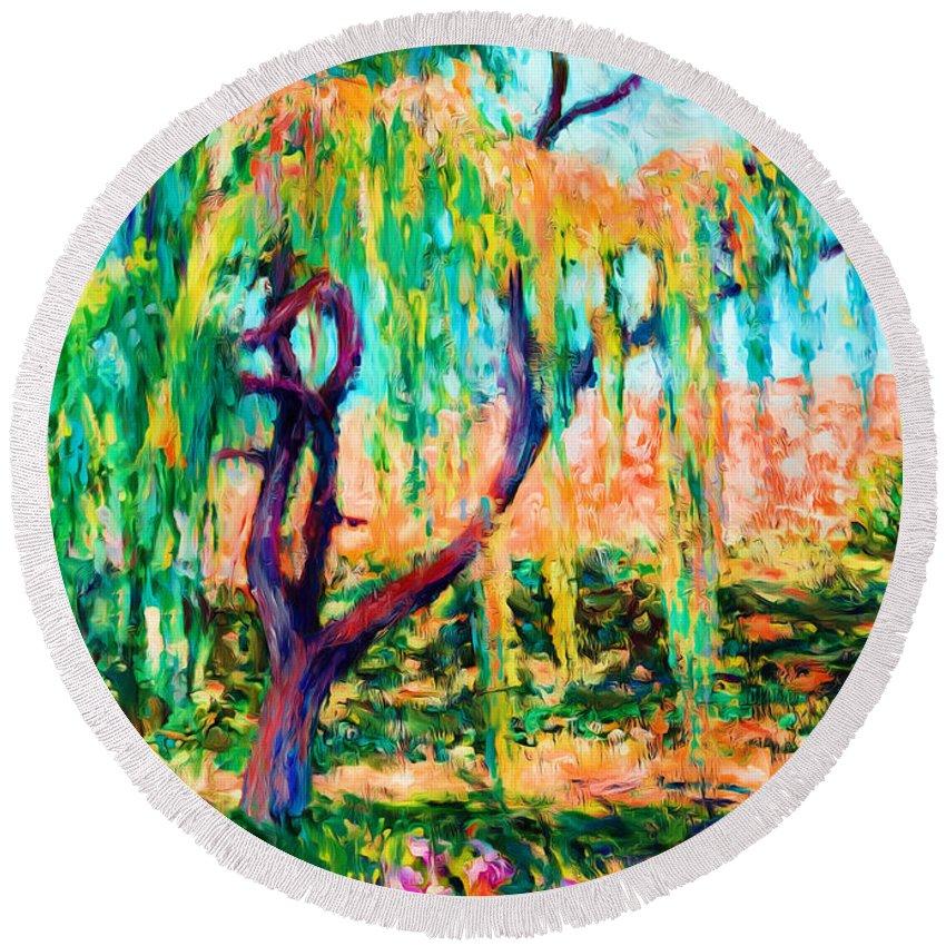 Autumn Round Beach Towel featuring the painting Autumn Season by Munir Alawi