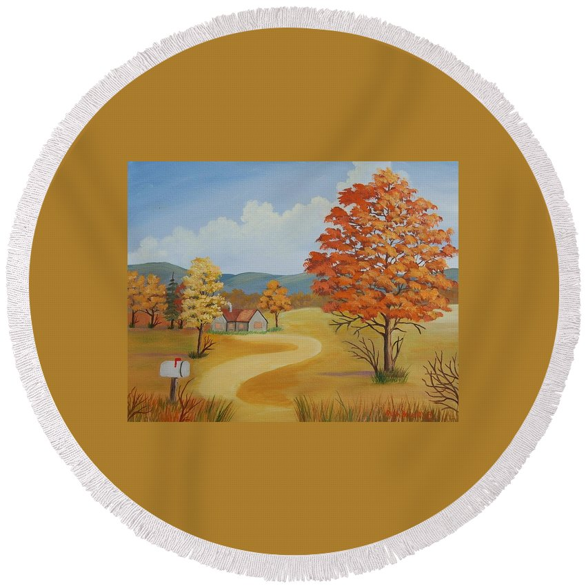 Landscape Round Beach Towel featuring the painting Autumn Season by Ruth Housley