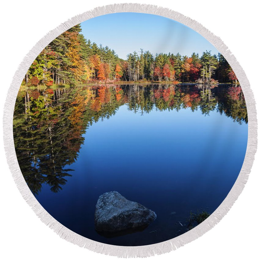 Autumn Round Beach Towel featuring the photograph Autumn Serenity In Maine Usa by Vishwanath Bhat