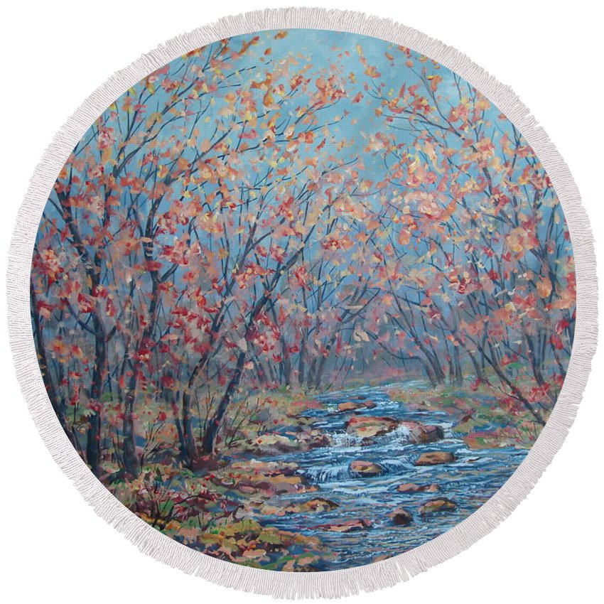 Landscape Round Beach Towel featuring the painting Autumn Serenity by Leonard Holland