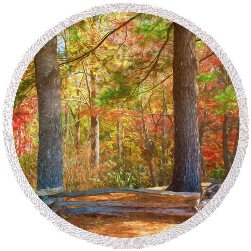 Fall Round Beach Towel featuring the digital art Autumn Split Rail Fence Digital Watercolor by Randy Herring
