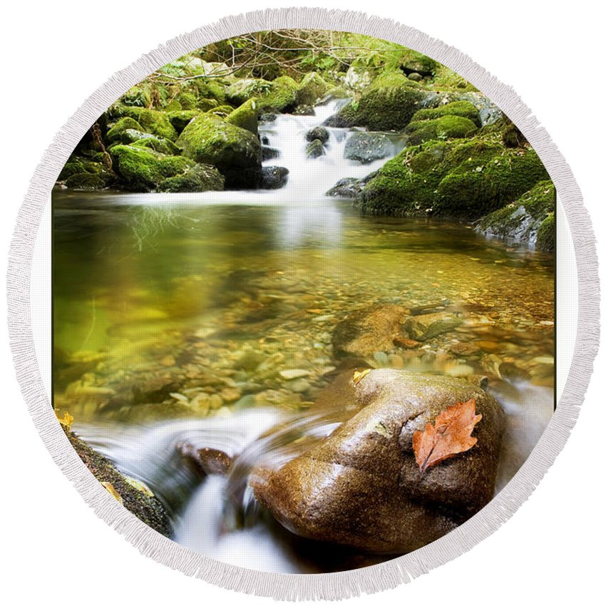 Stream Round Beach Towel featuring the photograph Autumn Stream by Mal Bray