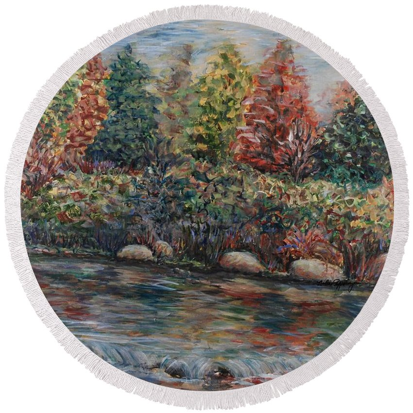 Autumn Round Beach Towel featuring the painting Autumn Stream by Nadine Rippelmeyer