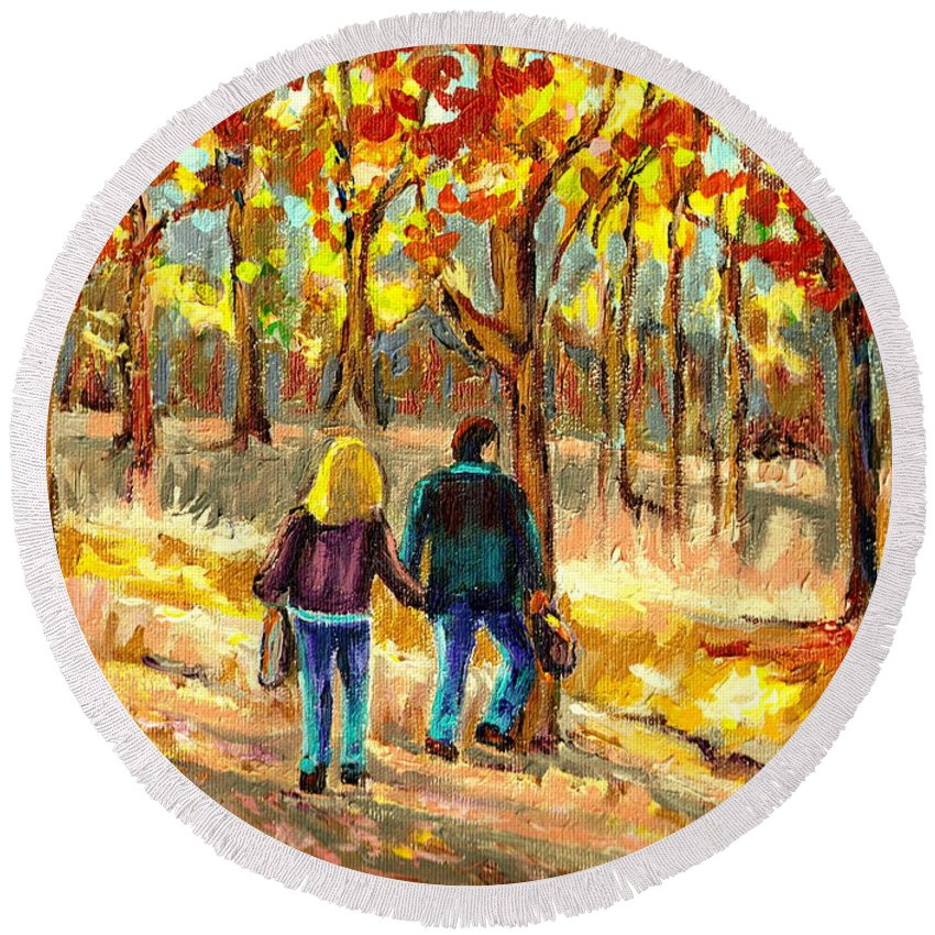 Autumn Stroll On Mount Royal Round Beach Towel featuring the painting Autumn Stroll On Mount Royal by Carole Spandau