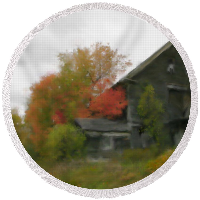 Nature Round Beach Towel featuring the painting Autumn Stroll by Stephen Lucas