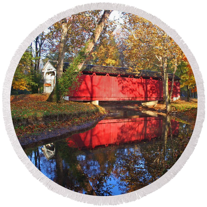 Covered Bridge Round Beach Towel featuring the photograph Autumn Sunrise Bridge II by Margie Wildblood