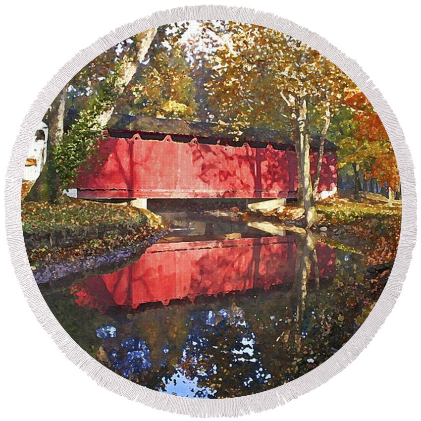 Covered Bridge Round Beach Towel featuring the photograph Autumn Sunrise Bridge by Margie Wildblood