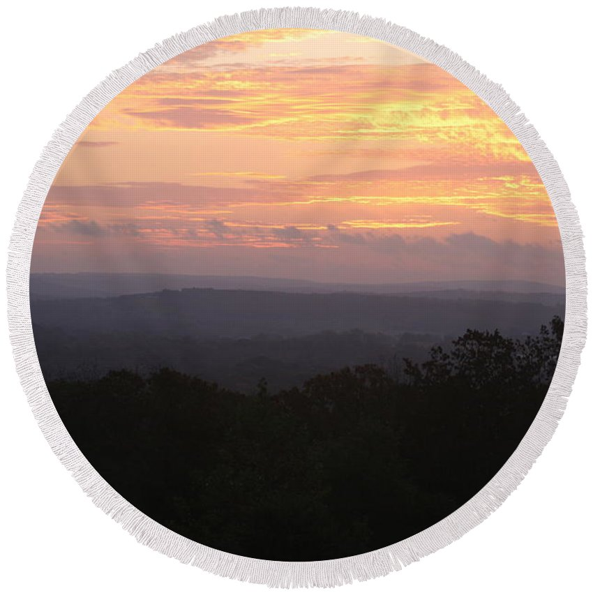 Sunrise Round Beach Towel featuring the photograph Autumn Sunrise Over The Ozarks by Nadine Rippelmeyer