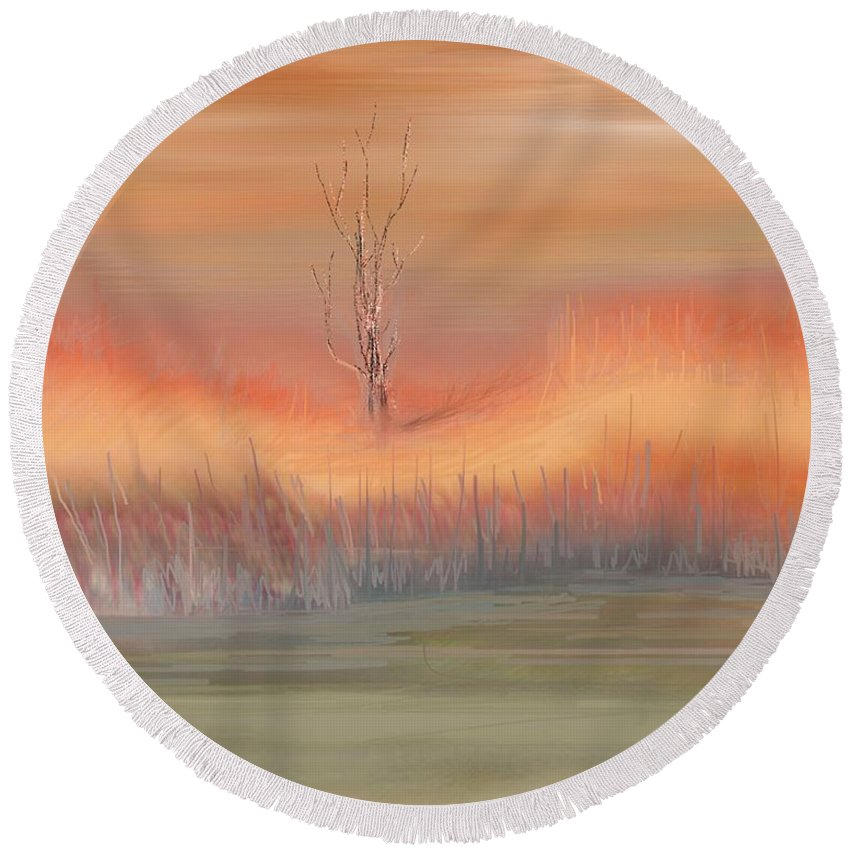 Fine Art Round Beach Towel featuring the digital art Autumn Swamp by David Lane