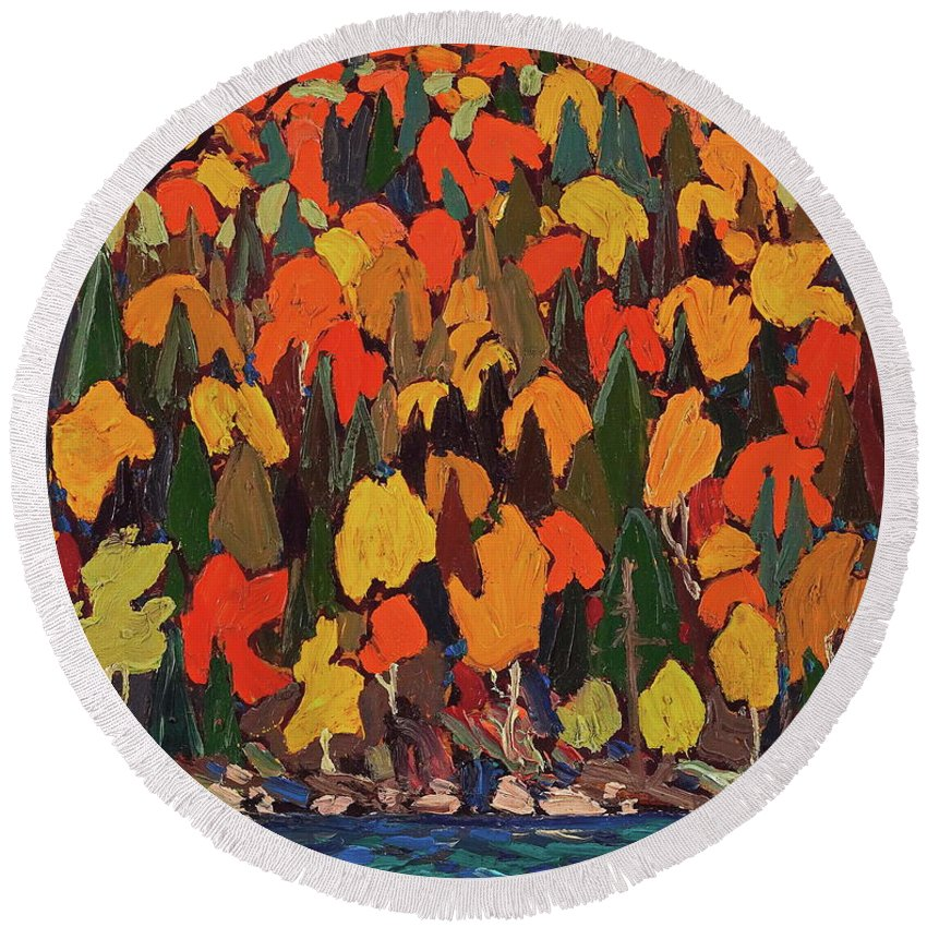 Autumn Round Beach Towel featuring the painting Autumn by Tom Thomson