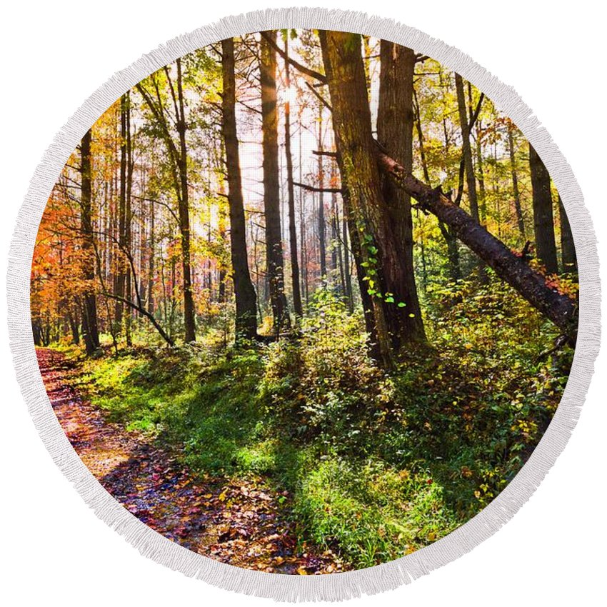 Appalachia Round Beach Towel featuring the photograph Autumn Trail by Debra and Dave Vanderlaan