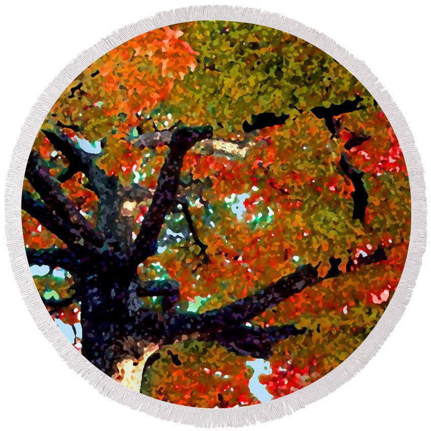 Fall Round Beach Towel featuring the photograph Autumn Tree by Steve Karol