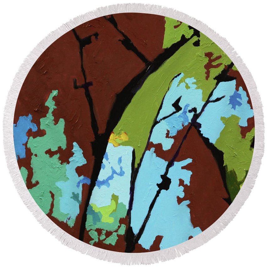 Abstract Round Beach Towel featuring the painting Autumn Trees #5 by John Lautermilch