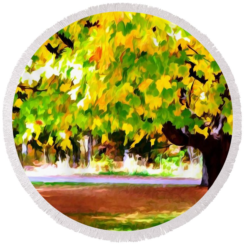 Fall Leaves Trees Round Beach Towel featuring the painting Autumn Trees 6 by Jeelan Clark