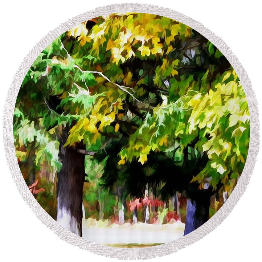 Fall Leaves Trees Round Beach Towel featuring the painting Autumn Trees 7 by Jeelan Clark