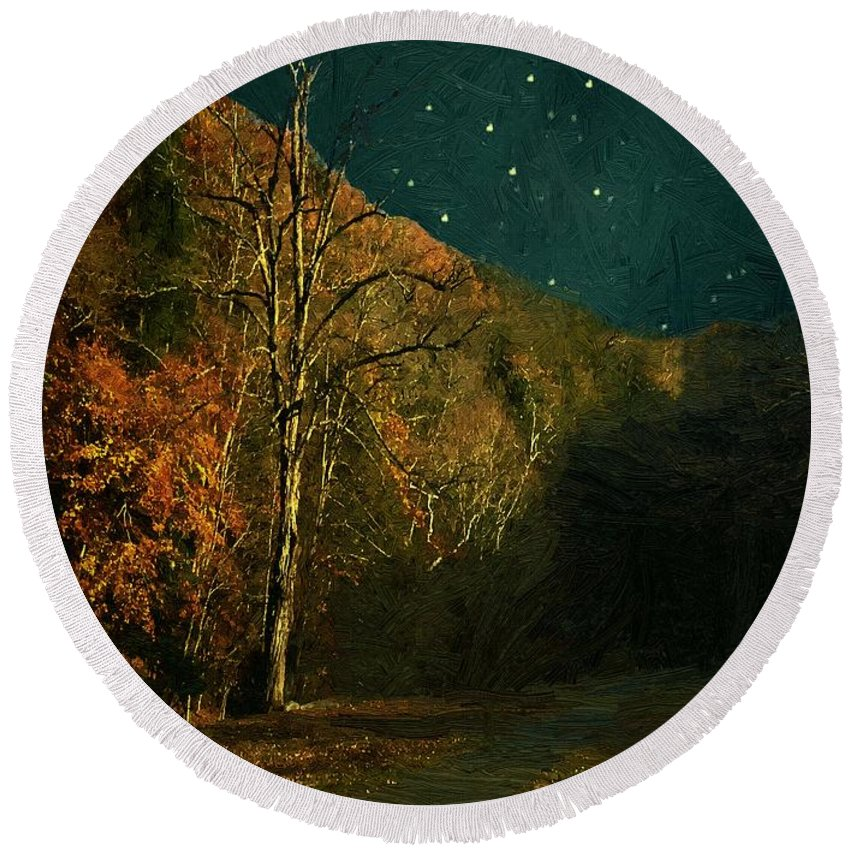 Landscape Round Beach Towel featuring the painting Autumn Tunnel by RC DeWinter