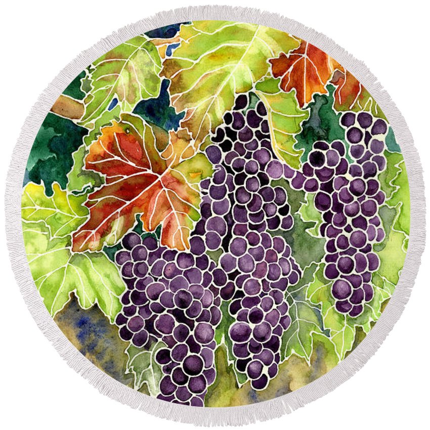 Cabernet Sauvignon Grapes Round Beach Towel featuring the painting Autumn Vineyard In Its Glory - Batik Style by Audrey Jeanne Roberts