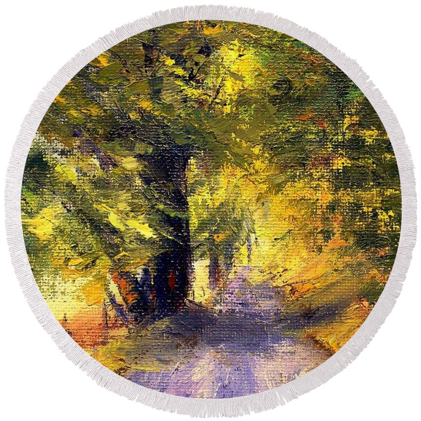 Autumn Round Beach Towel featuring the painting Autumn Walk by Gail Kirtz