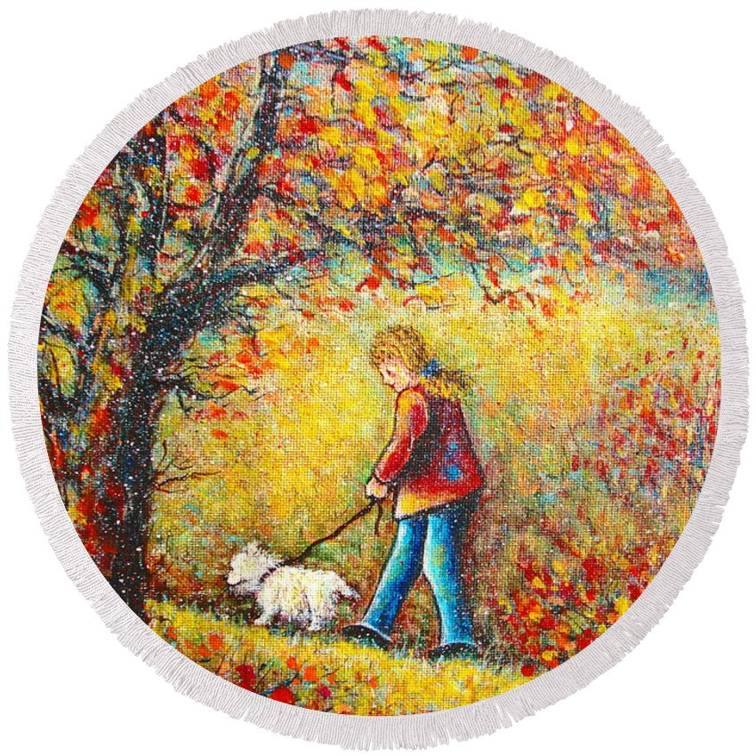Landscape Round Beach Towel featuring the painting Autumn Walk by Natalie Holland
