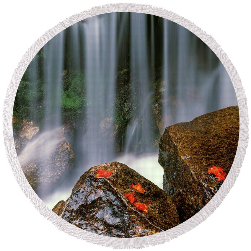 Autumn Round Beach Towel featuring the photograph Autumn Waterfall by Leland D Howard