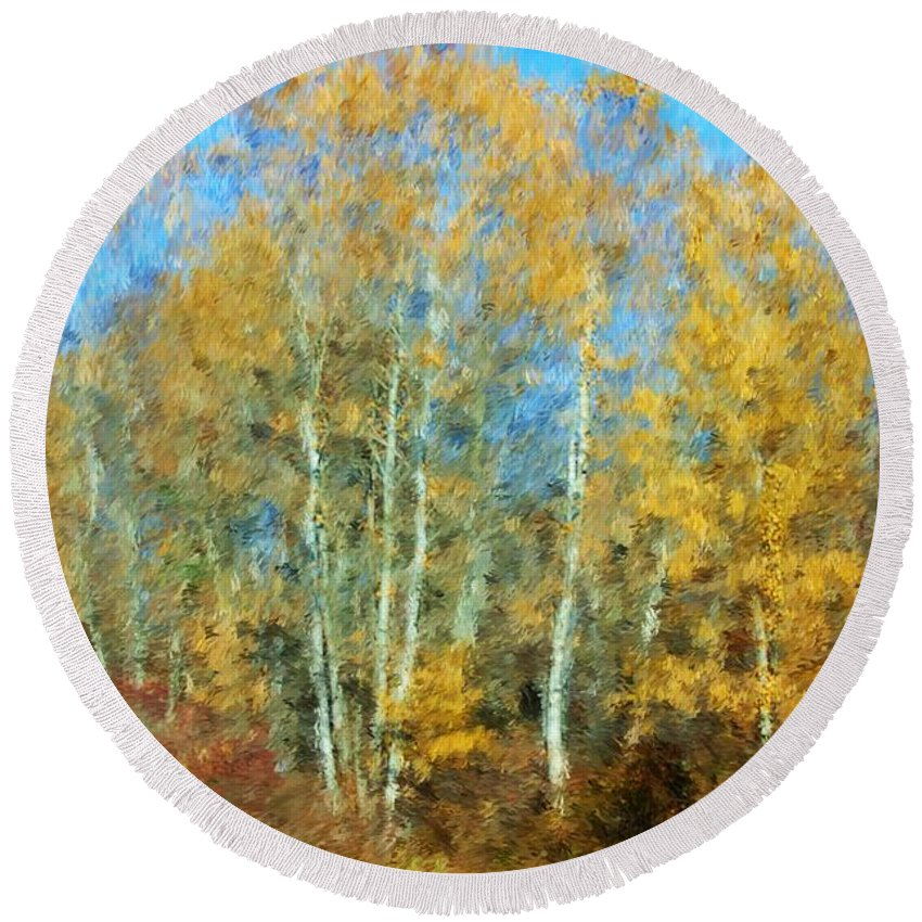 Round Beach Towel featuring the photograph Autumn Woodlot by David Lane