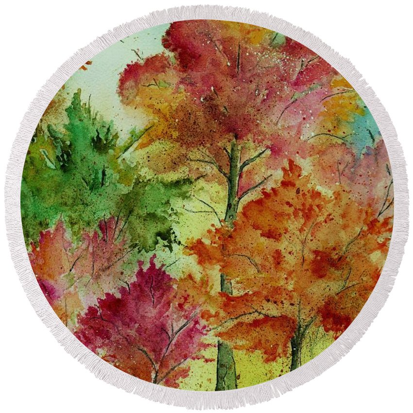 Landscape Round Beach Towel featuring the painting Autumn Woods by Brenda Owen
