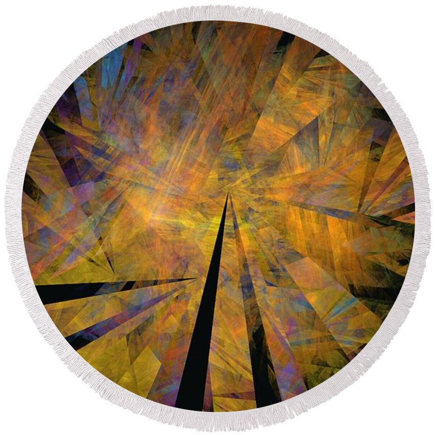 Abstract Expressionism Round Beach Towel featuring the digital art Autumnal by David Lane