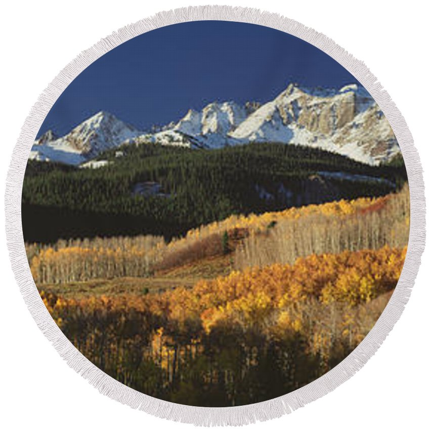 Photography Round Beach Towel featuring the photograph Autumnal View Of Aspen Trees And The by Panoramic Images